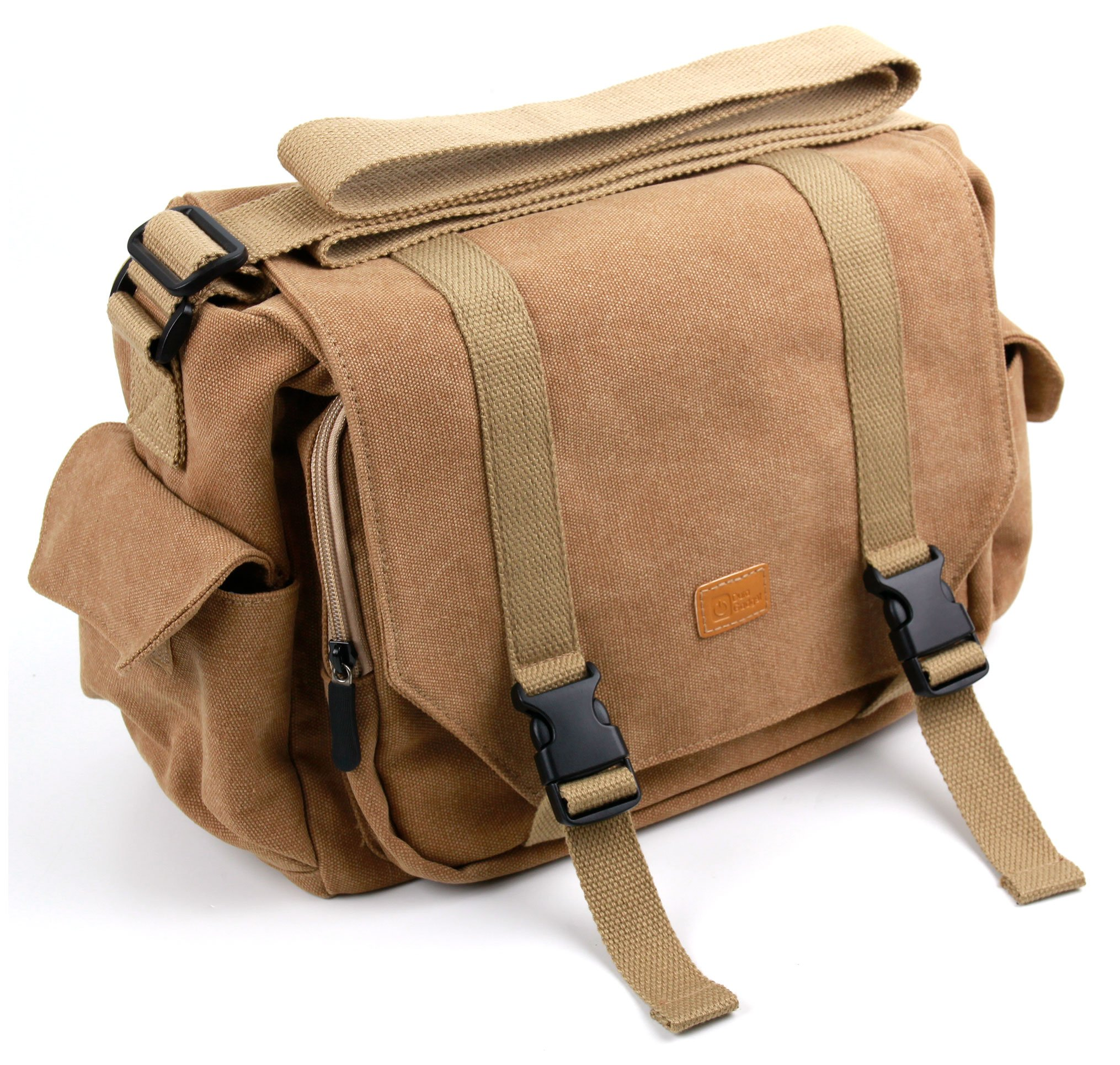 Compatible with iCODIS CB-200 Projector DURAGADGET Light Brown Medium Sized Canvas Carry Bag
