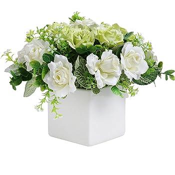 Amazon Com Mygift Decorative Artificial Ivory Rose Floral Arrangement In Square White Ceramic Vase Home Kitchen