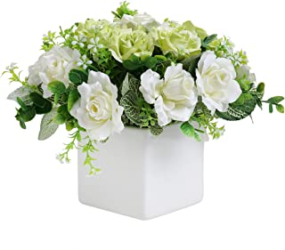 MyGift Decorative Artificial Ivory Rose Floral Arrangement in Square White Ceramic Vase