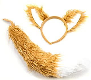Fox Headband Ears and Tail Costume Accessory Set - Fits Adults and Kids