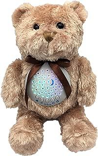 Baby Sleep Soother Sound Machine | JWK Teddy Bear | Portable Stuffed Animal Star Projector with 10 Calming Lullaby, Gentle Bird Song, Heartbeat Shusher