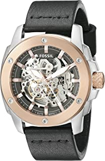 Fossil Men's Me3082 Modern Machine Automatic Leather Watch - Black, Analog Display