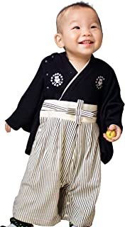 PS BABY クマの家紋付き 袴 ロンパース ベビー 着物 和装 (90)