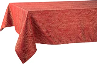 Linera Heavy-Weight Jacquard Tablecloth with Geometric Patterns, Wrinkle Resistant and Waterproof, 55 x 87 inch (Red)