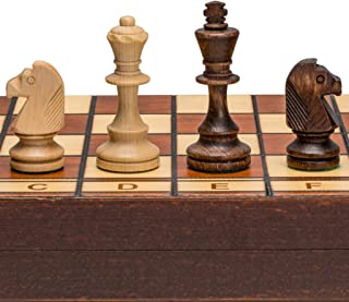 Wegiel Handmade Jowisz Professional Tournament Chess Set - Wooden 16 Inch Folding Board With Felt Base & Hand Carved Chess...