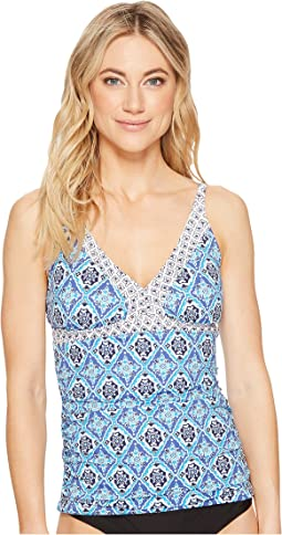 Tika Tiles Shirred Tankini Top