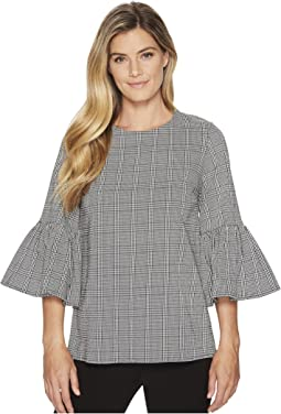 Calvin Klein Plaid Bell Sleeve Blouse