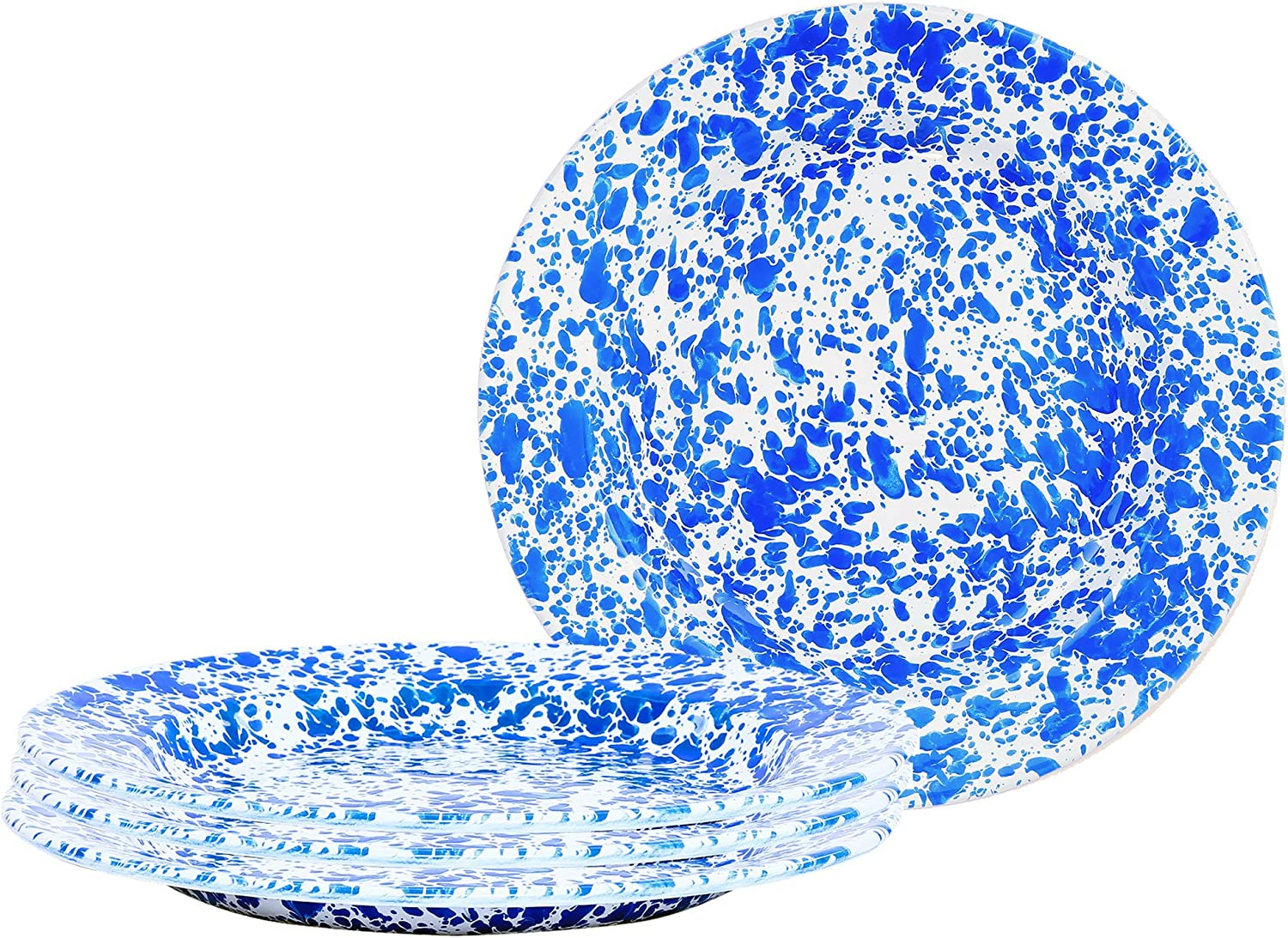 Crow Canyon Home Enamelware Dinner Plate, 10.25 , bluee & White Marble (Set of 4)