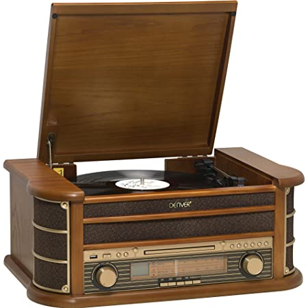 Denver MCR-50 Giradischi design retrò. Radio FM/AM. Lettore CD e cassetta. Altoparlanti da 5 W. Funzione di registrazione Custodia in legno.