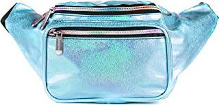 SoJourner Holographic Rave Fanny Pack - Packs for festival women, men | Cute Fashion Waist Bag Belt Bags (Light Blue Glitter)