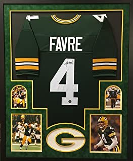 Brett Favre Green Bay Packers Autograph Signed Custom Framed Jersey Suede Matted Green Favre Authentic Certified