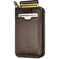 NOTTING HILL Slim Zip Wallet with RFID Protection for Cards Cash Coins (Brown)