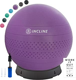 Incline Fit Base & Pump 55/65/75cm Anti-Burst Exercise Ball for Balance/Stability/Yoga/Pilates, Ultra Violet