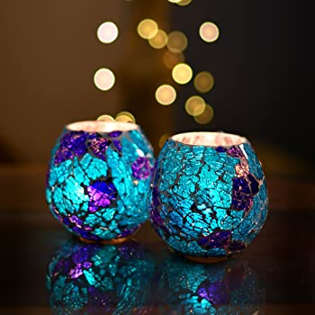 Homesake® TeaLight Candle Holder for Home Decoration Moroccan Turquoise Glass Crackle Mosaic Glass, for Home, Room, Bedroom, Birthday, Diwali Decoration, Home Decor Items, Candle Holder For Home Decoration, Home Room Decor | Pack of 2