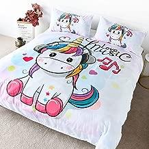 BlessLiving Unicorn Bedding Duvet Cover for Kids Adults Unicorn in The Headphones Design Unicorn Lover Gift 3 Pieces King Size