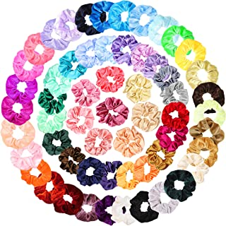 WATINC 58Pcs Silk Satin Velvet Hair Scrunchies Assorted Strong Elastic Hair Bobbles for Ponytail Holder Colorful Solid Color Hair Accessories Ropes Scrunchy Traceless Hair Ties for Women