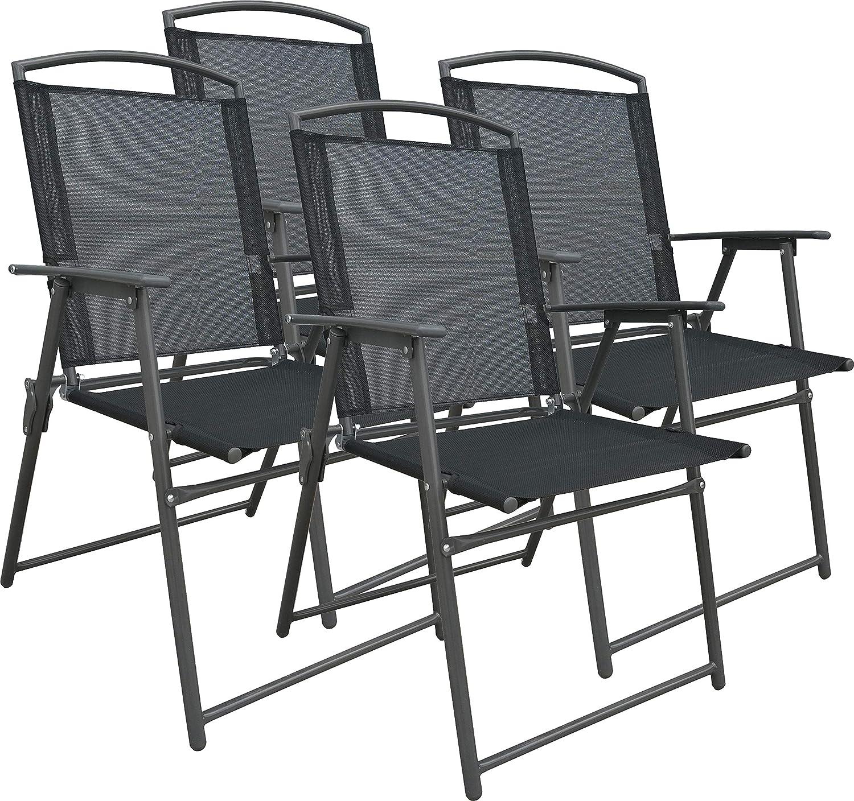 VCM Set Gartenstuhl Stühle Stuhl Metall Textilene klappbar 4 Stühle
