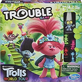 Trouble: DreamWorks Trolls World Tour Edition Board Game for Kids Ages 5 and Up; Includes Tiny Diamond Figure with Hair, M...