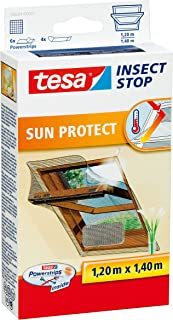 tesa Insect Stop Sun Protect Red Anti Mosquitos Ventana Plata - Mosquiteras (1200 x 10 x 1400 mm, Plata, 454 g)