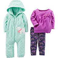 Simple Joys by Carter's Baby Girls' 3-Piece Hooded Jumpsuit, Long-Sleeve Top, and Pant Playwear Set