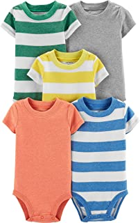 Carter's Baby Boys 5 Pack Bodysuit Set, Stripes, Newborn