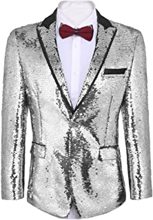 d8002fb7821 COOFANDY Men s Shiny Sequins Suit Jacket Blazer One Button Tuxedo for  Party
