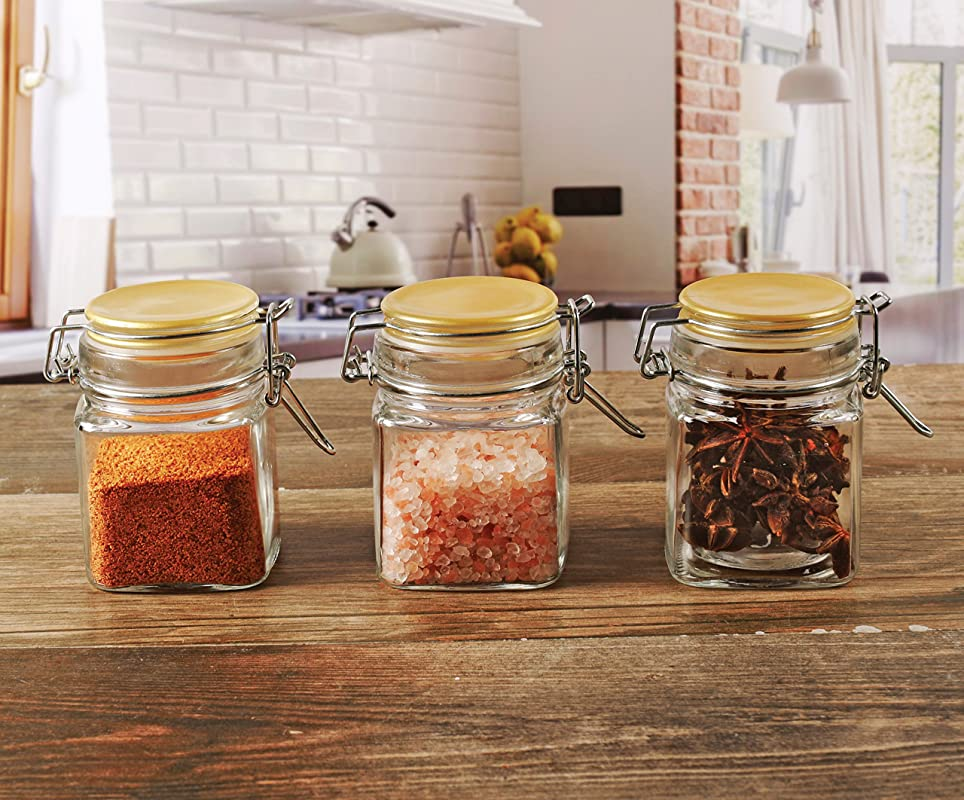 Circleware 67187 Mini Square Glass Spice Jar With Swing Top Gold Hermetic Airtight Locking Lid Set Of 3 Kitchen Himalayan Seasoning Glassware Food Preserving Storage Containers 6 76 Oz