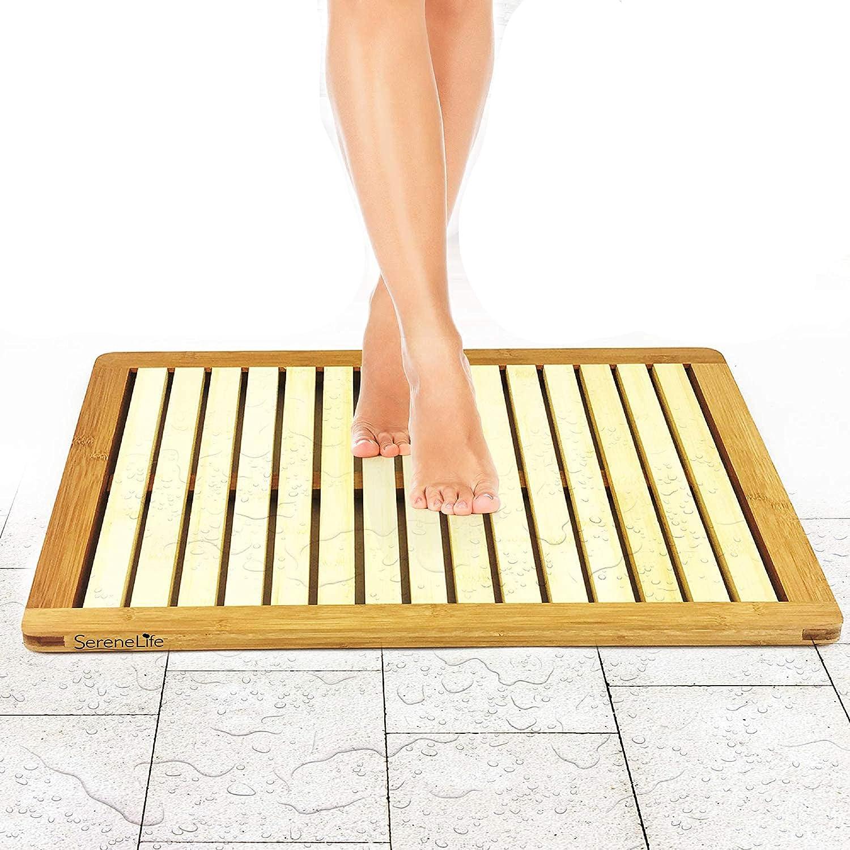 Bathroom Bath Rapid rise Mat Bamboo Wood - Shower Heavy free Rug D or Foot Floor