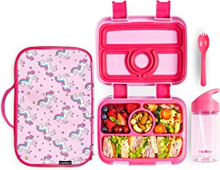 Meillen Kids Bento Lunch Box, Insulated Cooler Bag & Water Bottle, Leak-Proof 4-Compartment Snack Box, Reusable Soft Tote,...