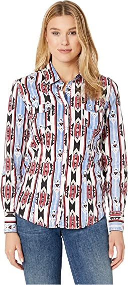 Long Sleeve Printed Snap Front B4S9112