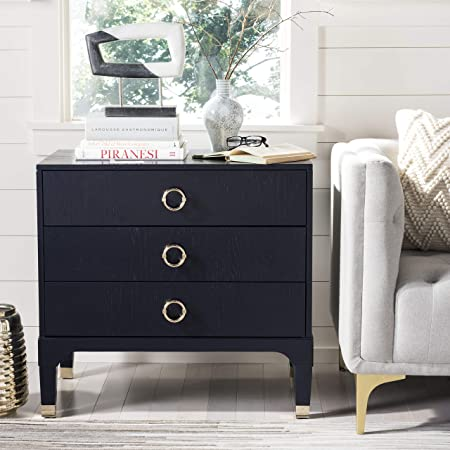 Safavieh Home Collection Lorna 3 Drawer Contemporary Night Stand Nightstand Navy Furniture Decor
