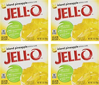 Jell-O Island Pineapple Gelatin Mix, 3 oz Boxes (Pack of 4)