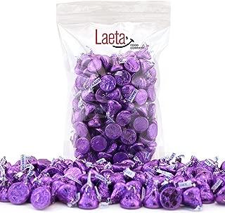 LaetaFood Pack, Hershey's Kisses Purple Foils Wrap, Milk Chocolate Candy (2 Pound Bulk Pack)