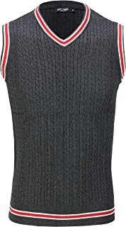 Xposed Mens Sleeveless V Neck Jumper Retro Cable Knitted Cricket Golf Sweater Jersey Top Vest