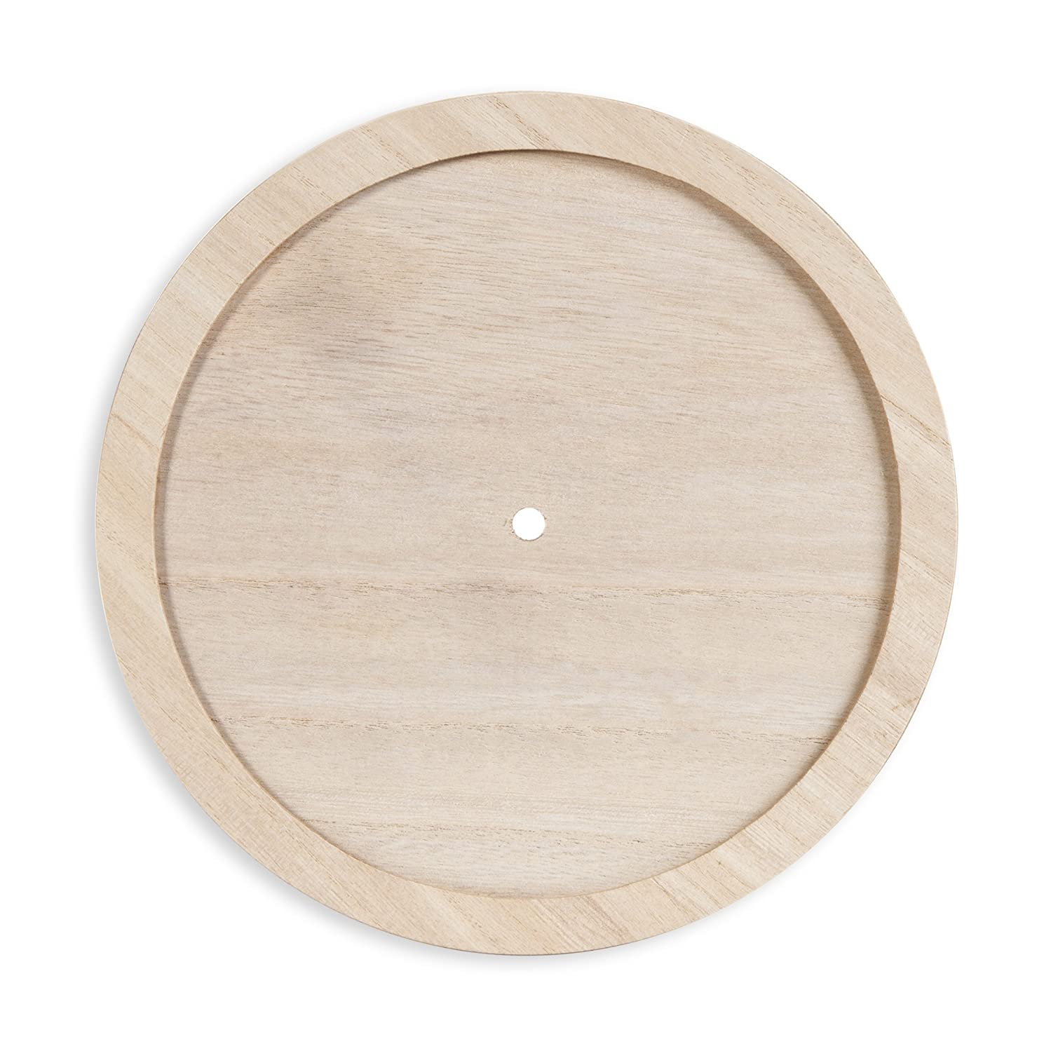 Darice DIY Unnumbered & Unfinished Wood Circle with Raised Trim Clock Face, Multicolor