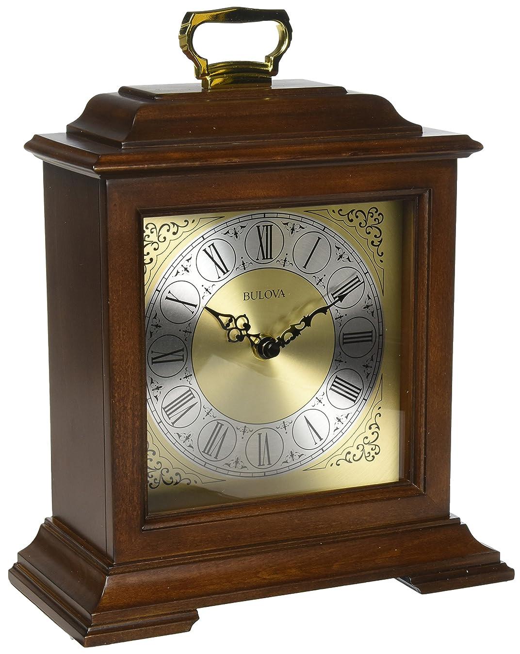 Bulova B1512 Exeter Mantel Chiming Clock, Dark Cherry Brown