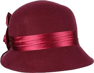 Marilyn Vintage Style Wool Cloche Bucket Winter Hat with Satin Flower