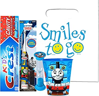 Thomas & Friends 4pc Bright Smile Oral Hygiene Bundle! Thomas Turbo Powered Spin Toothbrush, Toothpaste, Brushing Timer & Mouthwash Rinse Cup! Plus Dental Gift Bag & Tooth Saver Necklace!