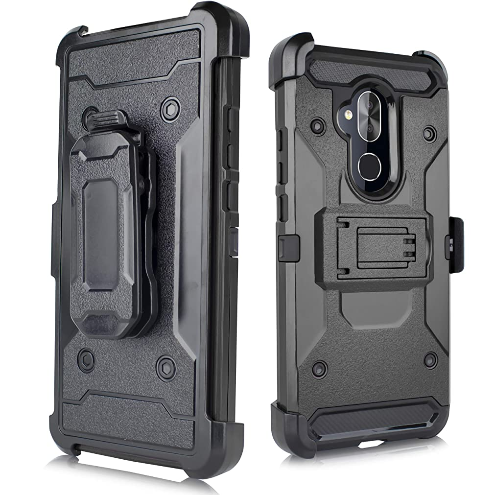 for Alcatel 7 / Revvl 2 Plus/ ACTL6062 [2018 Release for Metro PCS, etc] Duo Defense Heavy Duty Full Body Rugged Holster Armor Combo Case [Belt Swivel Clip & Kickstand] (Black) ofsvouf38743125
