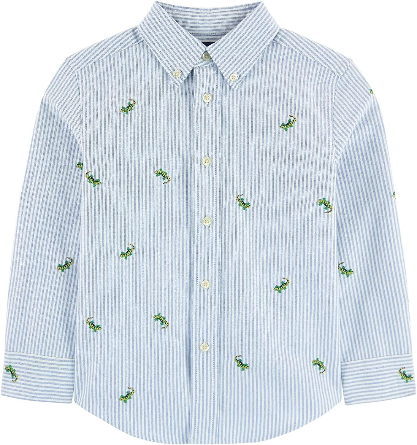 Ralph Lauren Polo Boys Embroidered Striped Oxford Long Sleeve Shirt