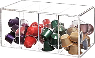 Deluxe Clear Acrylic 4 Compartment Hinge Lid Capsule Holder/Tea Bag Organizer Storage Box
