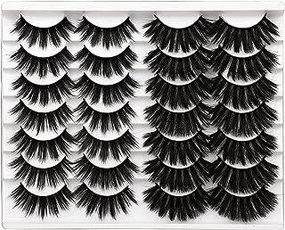 3D False Eyelashes 14 Pairs Dramatic Thick 20MM Faux Mink Lashes 2 Styles Long Fluffy Volume Fake Eyelashes Eye Lashes Mul...