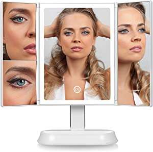 Luxo Lighted Mirror - Makeup Mirror with Lights and Magnification - 40 LED Mirror - Vanity Mirror with Lights - Light Up Mirror for Makeup, Dimmable LED Mirror Makeup, Sensor Touch Light Mirror