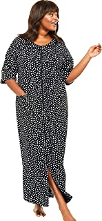 Dreams & Co. Women's Plus Size Long French Terry Zip-Front Robe