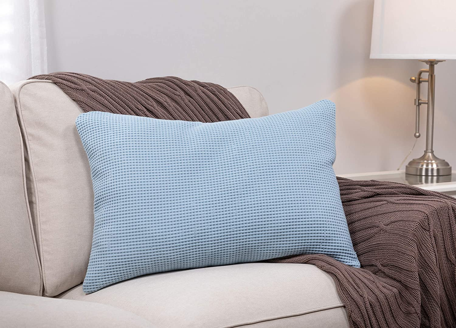 MyPillow Throw Special price for a limited time Pillow Rectangle Max 57% OFF Light Blue Waffle