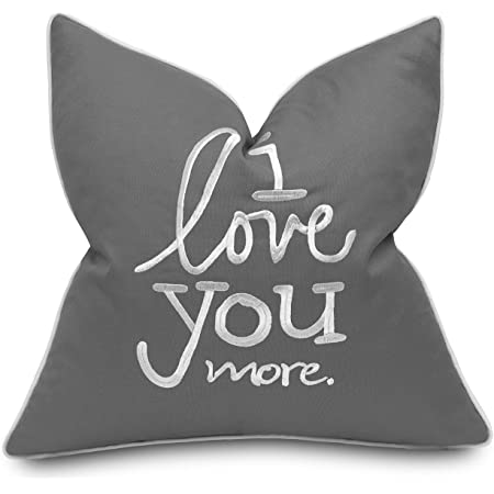 Adecor I Love You More Cotton Embroidered Decorative Square Accent Throw Pillow Cover Gift For Boyfriend Girlfriend Bedroom Decor 18x18 Inches Dark Grey Home Kitchen