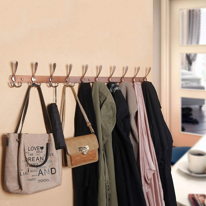 WEBI Coat Rack Wall Mounted,5 Tri Hooks for Hanging,Coat Hook,Hook Rack,Hook Rail,Coat Hanger Wall Mount for Coats,Hats,Towel,Black/&White