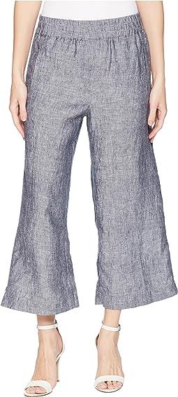 Elastic Waist Linen Crop Pants