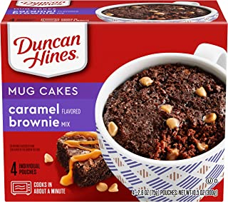 Duncan Hines Perfect Size for 1 Brownie Mix, Ready in About a Minute, Caramel Brownie, 4 Individual Pouches, 2.6 Ounce (Pack of 4)