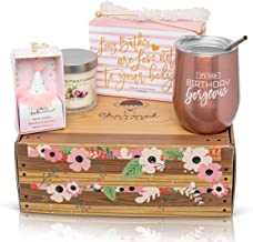 Happy Birthday Gift for Women: Stainless Steel Tumbler, Bath Bomb Set, Scented Candle, Wine Stopper, Candy Box for Her
